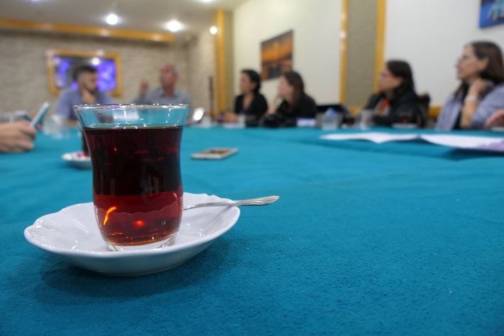 Developing existing partnerships and forging new ones through a site visit to Fikirtepe, Istanbul, where we spoke with a community leader. Tea bonds us together during this key moment  of learning about the community perspective of urban transformation.